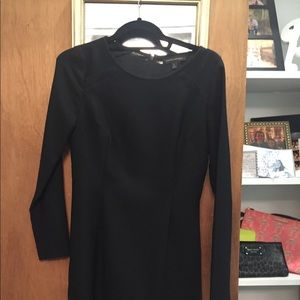 Banana Republic pleated black flare dress